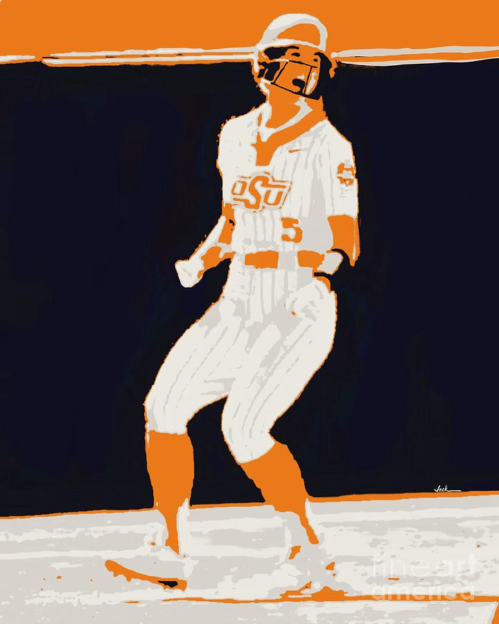 Osu Painting - Cowgirls Softball  by Jack Bunds