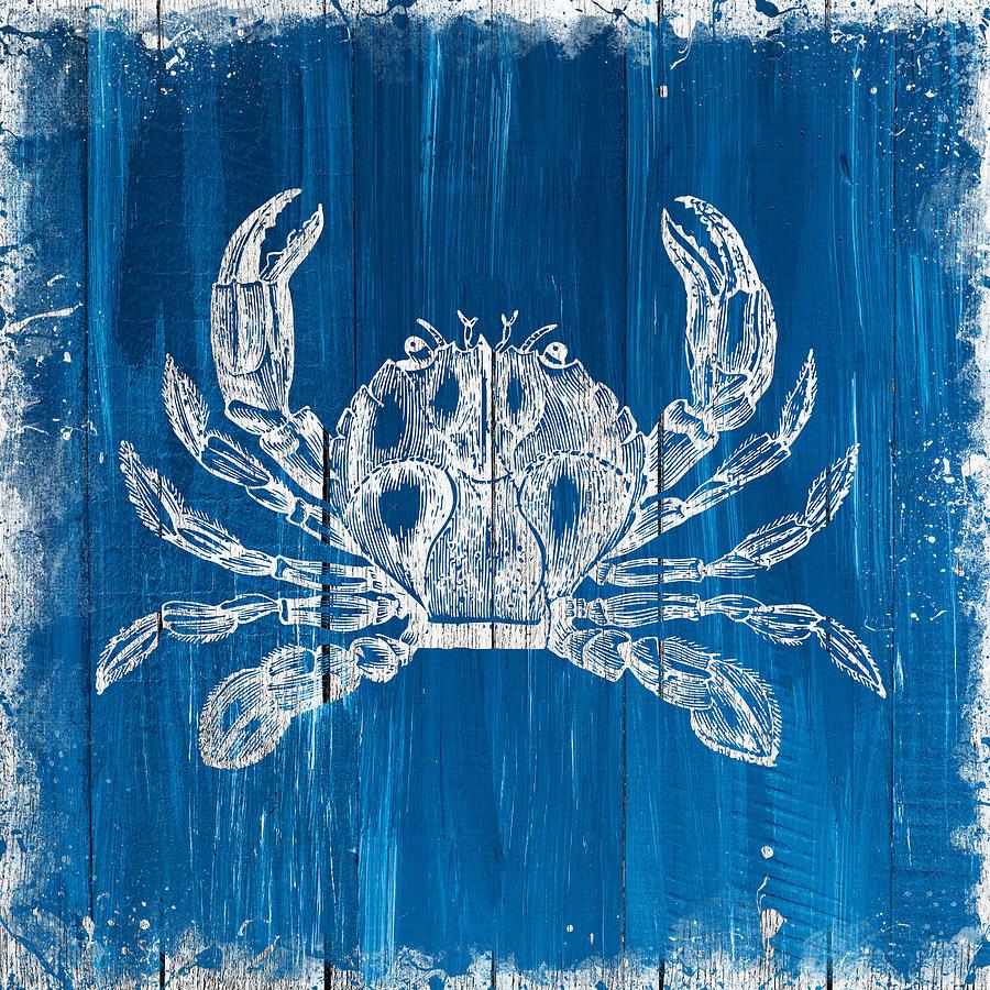 Crab On Blue Wood Digital Art