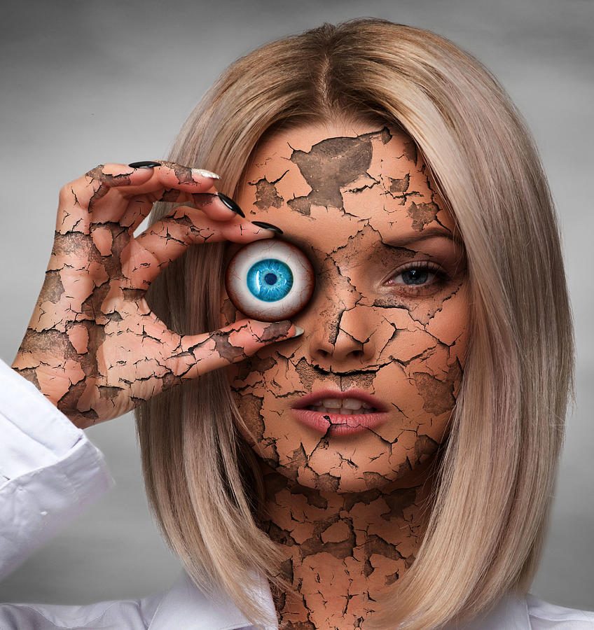 Cracked Woman Face And Eyeball Surreal Digital Art