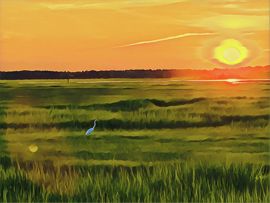 Crane At Sunset Digital Art