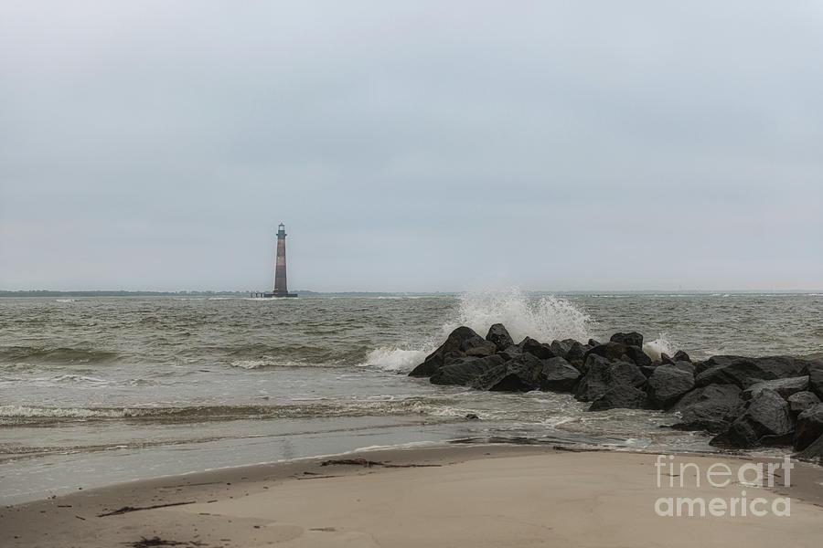 Crashing Waves - Morris Island Lighthouse Photograph