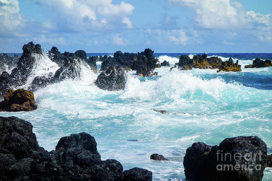 Crashing Waves on Black Rocks by Wilko Van de Kamp