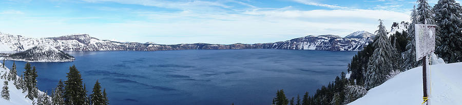 Crater Lake Photograph - Crater Lake In Winter Panorama by Cathy Anderson