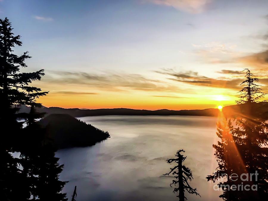 Crater Lake Sunrays Photograph
