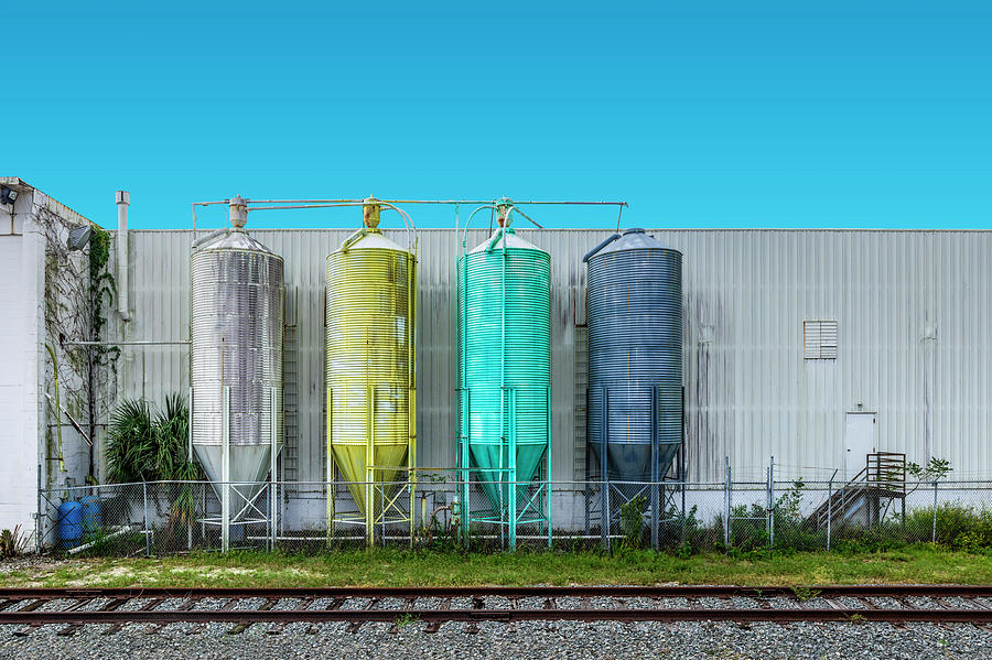 Train Tracks Photograph - Crayola Silos by Charles LeRette