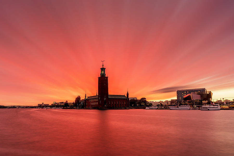 Fiery Photograph - Crazy Red and Purple long exposure sunset over the Stockholm City Hall by Dejan Kostic