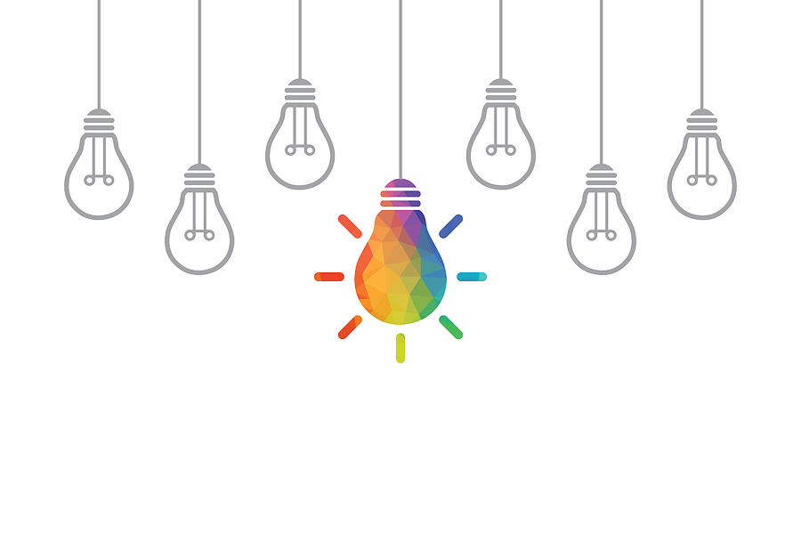 Creative Idea Concepts with Light Bulb Drawing by Phototechno