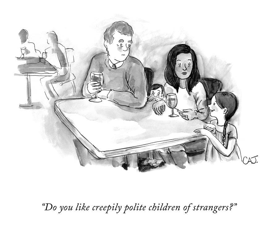 Creepily Polite Children Drawing by Carolita Johnson