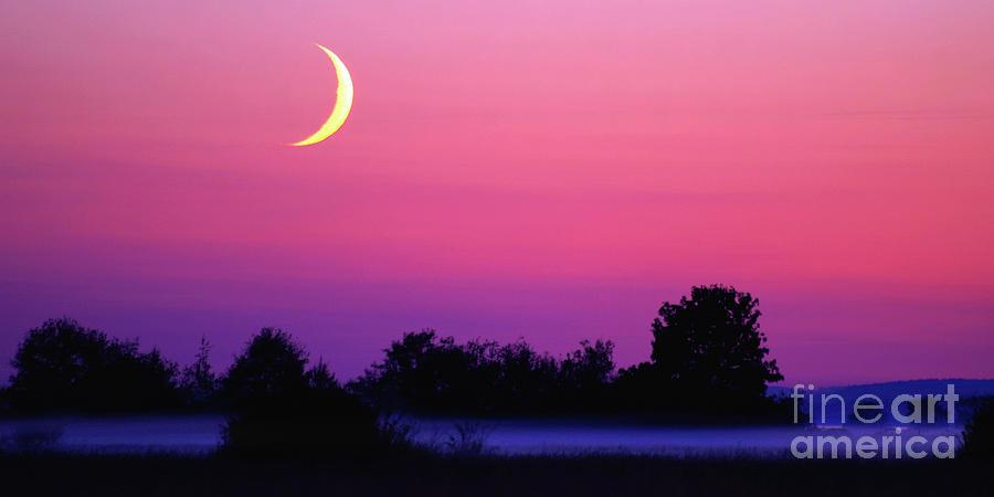 Moon Photograph - Crescent Moon At Dusk - Wide Vista by Douglas Taylor