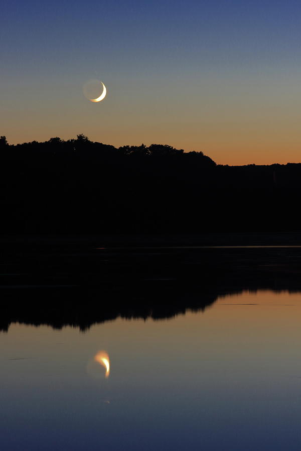 Crescent Moon Over Connecticut River Photograph