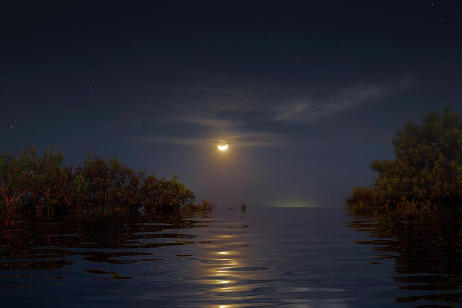 Crescent Moon Over Florida Bay Photograph