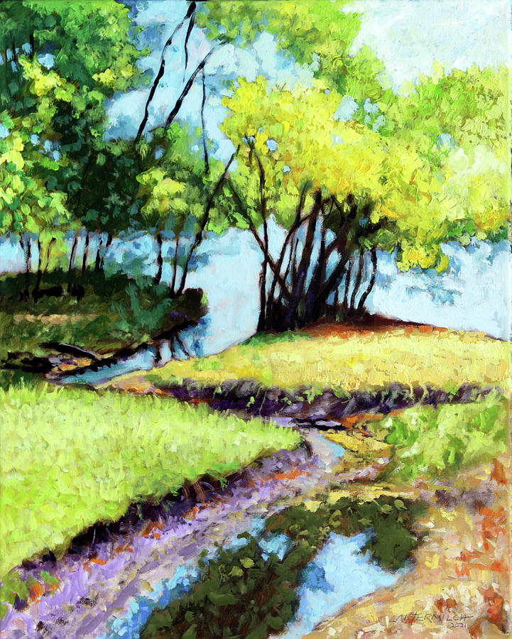 Trees Painting - Creve Coeur Stream by John Lautermilch