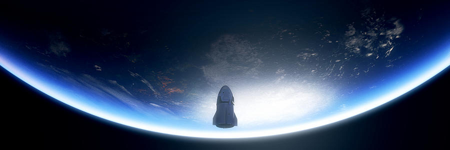 Spacex Digital Art - Endeavour by Hangar B Productions