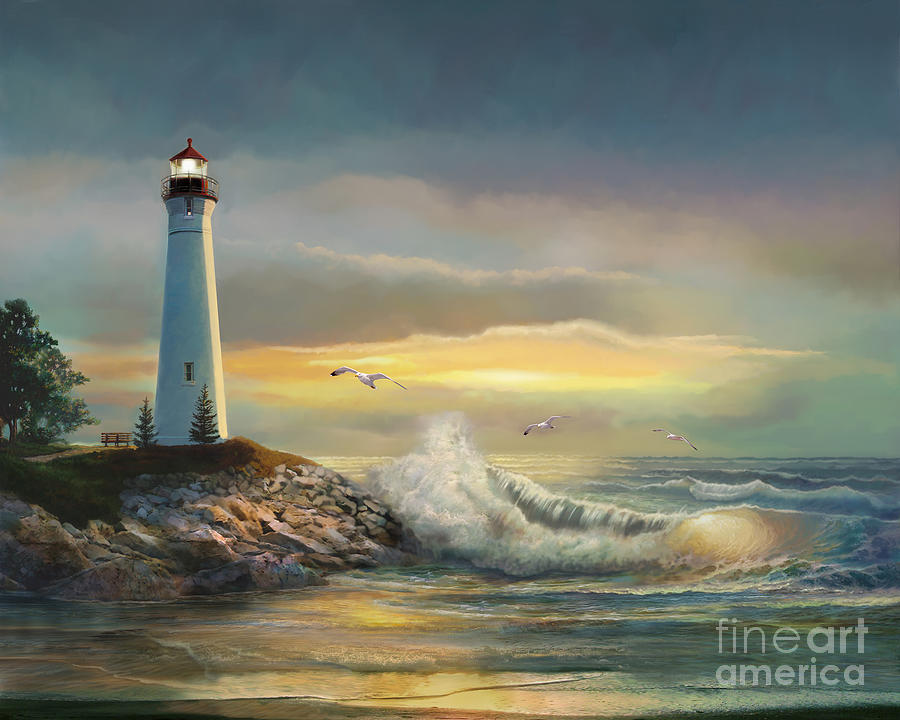 Crisp Point Lighthouse At Sunset Painting