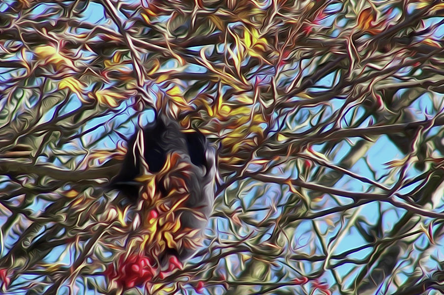 Crow in Tree Abstract by Yulia Kazansky