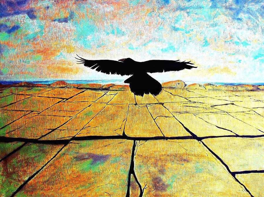 Crow Over Burren Painting