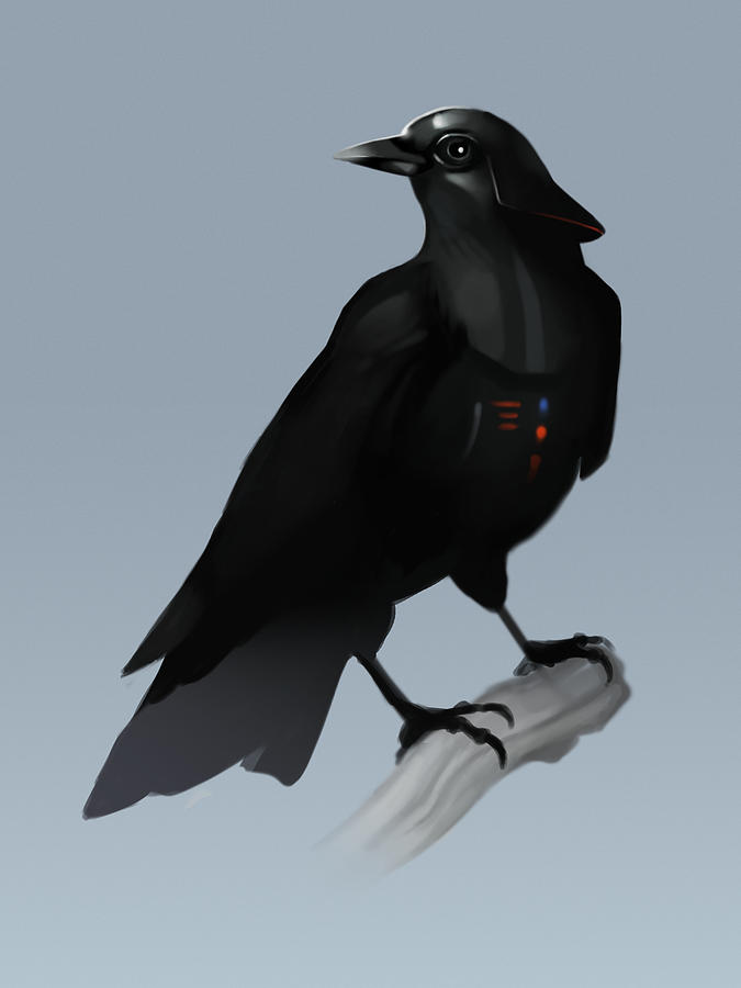 Birds Digital Art - Crow Vader by Michael Myers