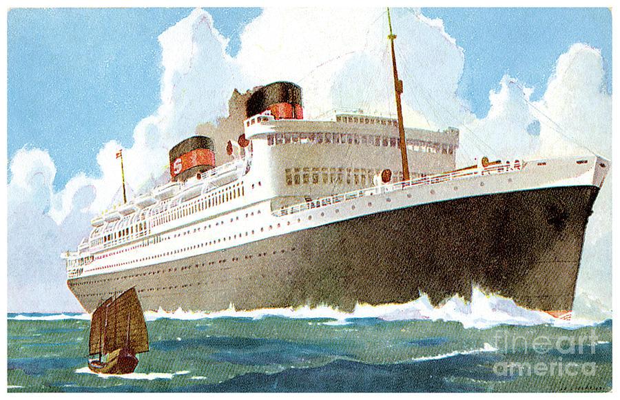 Cruise Ship Travel Postcard Painting