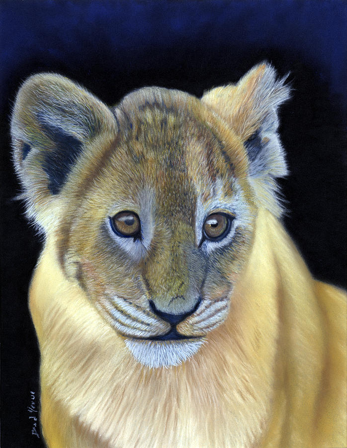 Cub Pastel - Cub Wildlife Pastel Painting by Dave Nevue