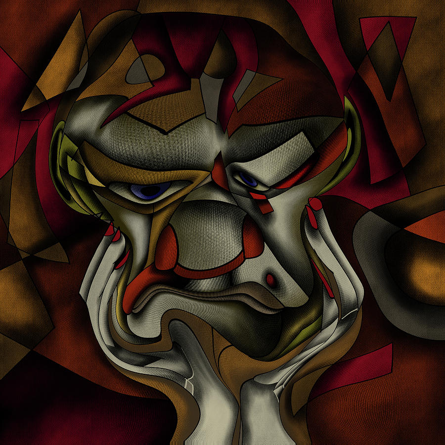 Cubism - old curmudgeon with a grimace by Patricia Piotrak