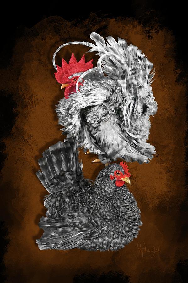 Chickens Digital Art - Cuckoo Japanese Bantams Or Chabo by Sigrid Van Dort