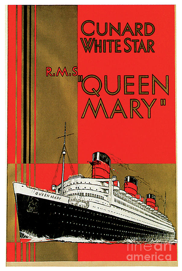 Cunard White Star Rms Queen Mary Travel Poster Painting