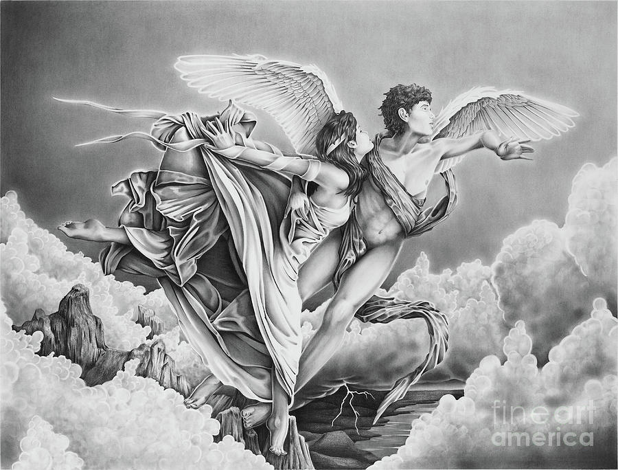 Cupid And Psyche 2 Drawing by Ross Coleman
