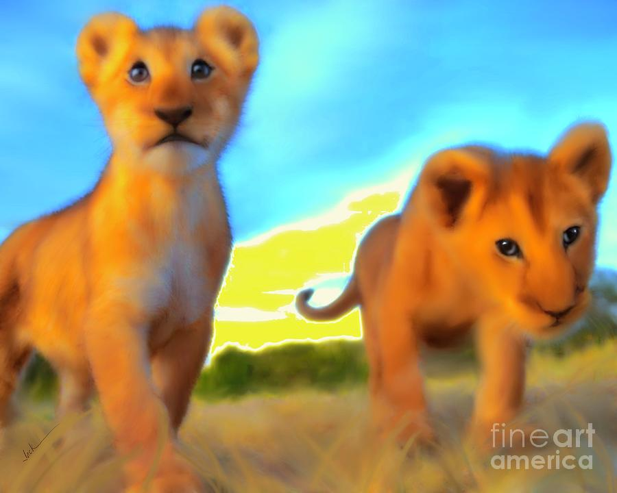 Lion Cubs Painting - Curious Siblings by Jack Bunds