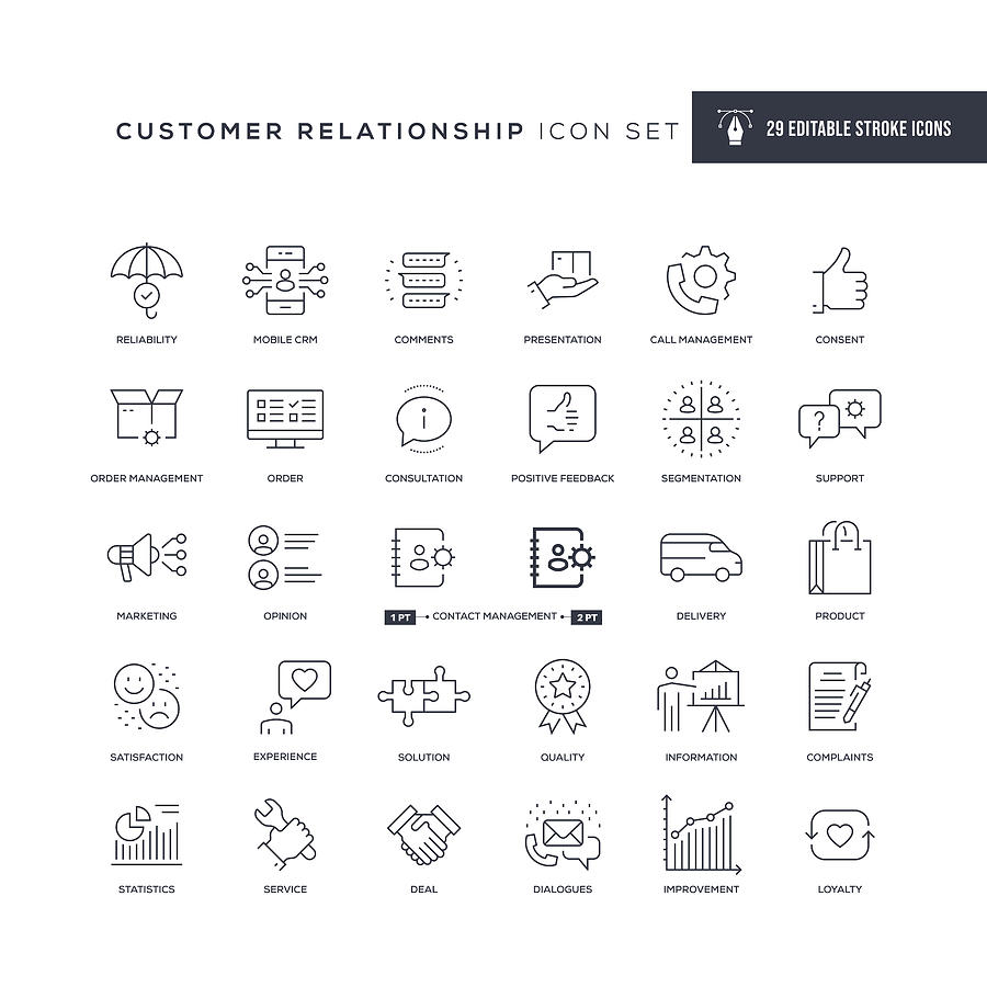 Customer Relationship Editable Stroke Line Icons Drawing by Enis Aksoy