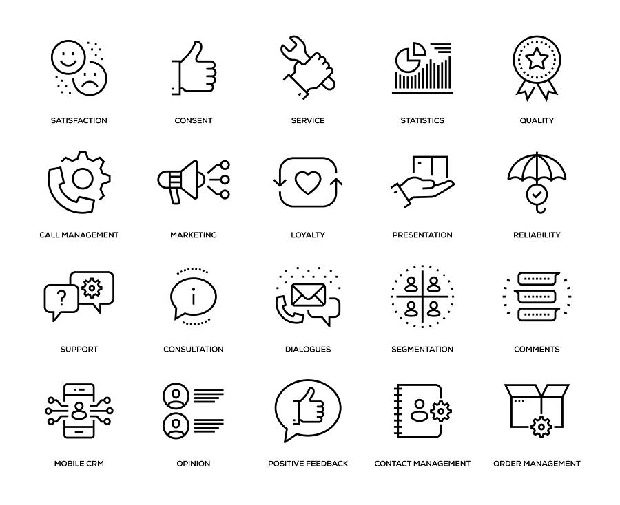 Customer Relationship Management Icon Set Drawing by Enis Aksoy