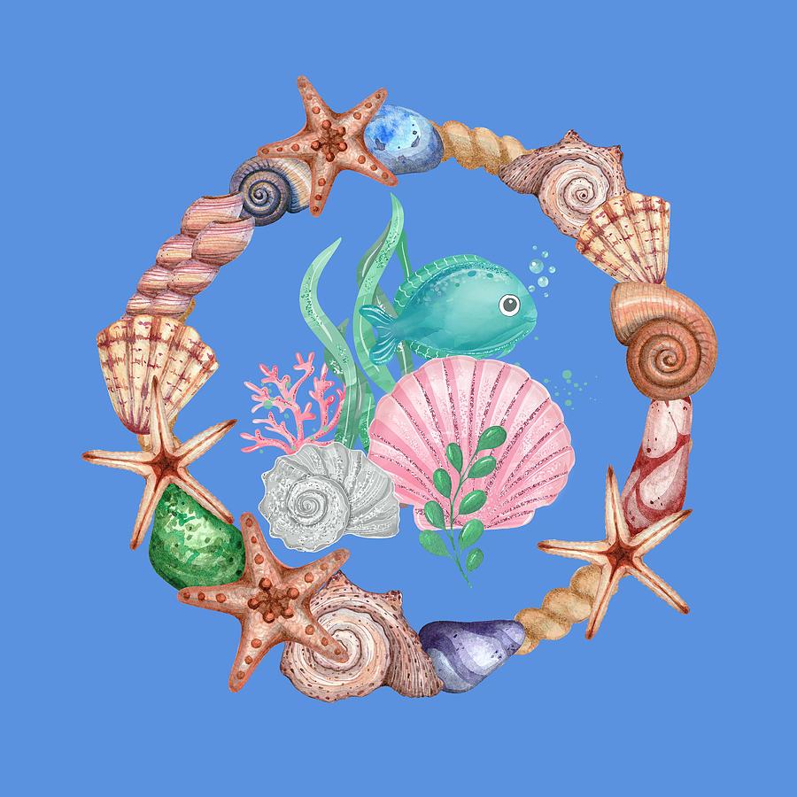 Cute And Beautiful Sea Life Art Mixed Media