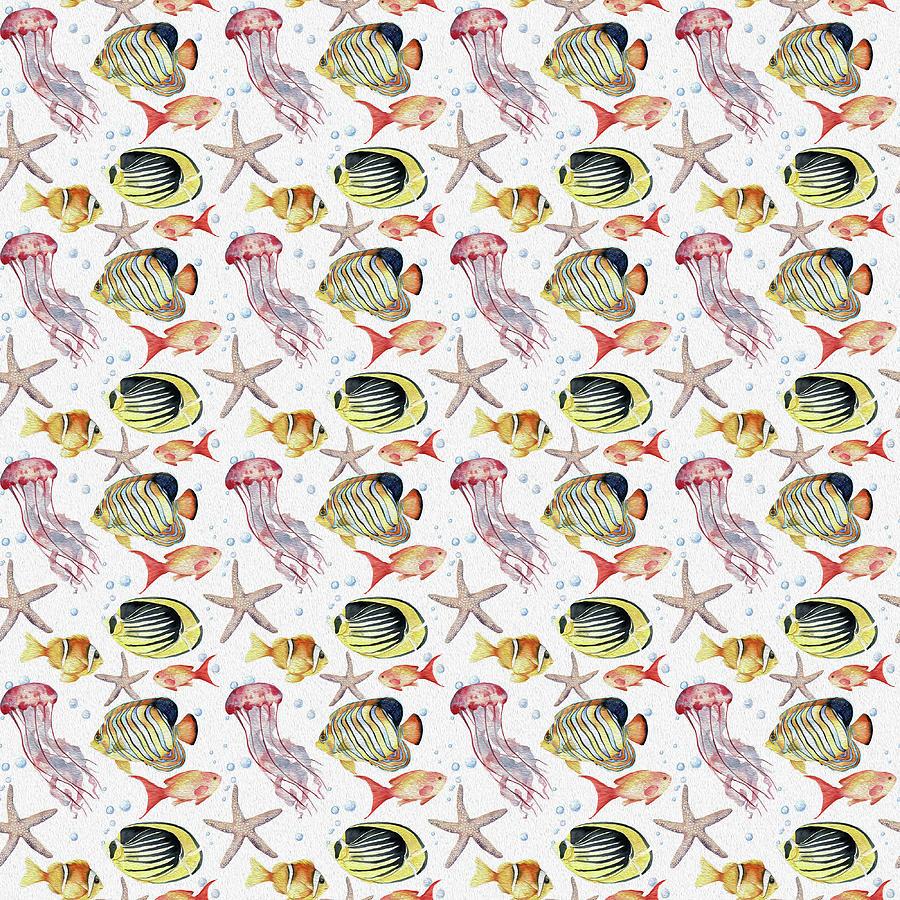 Cute And Colorful Sea Life Pattern Digital Art