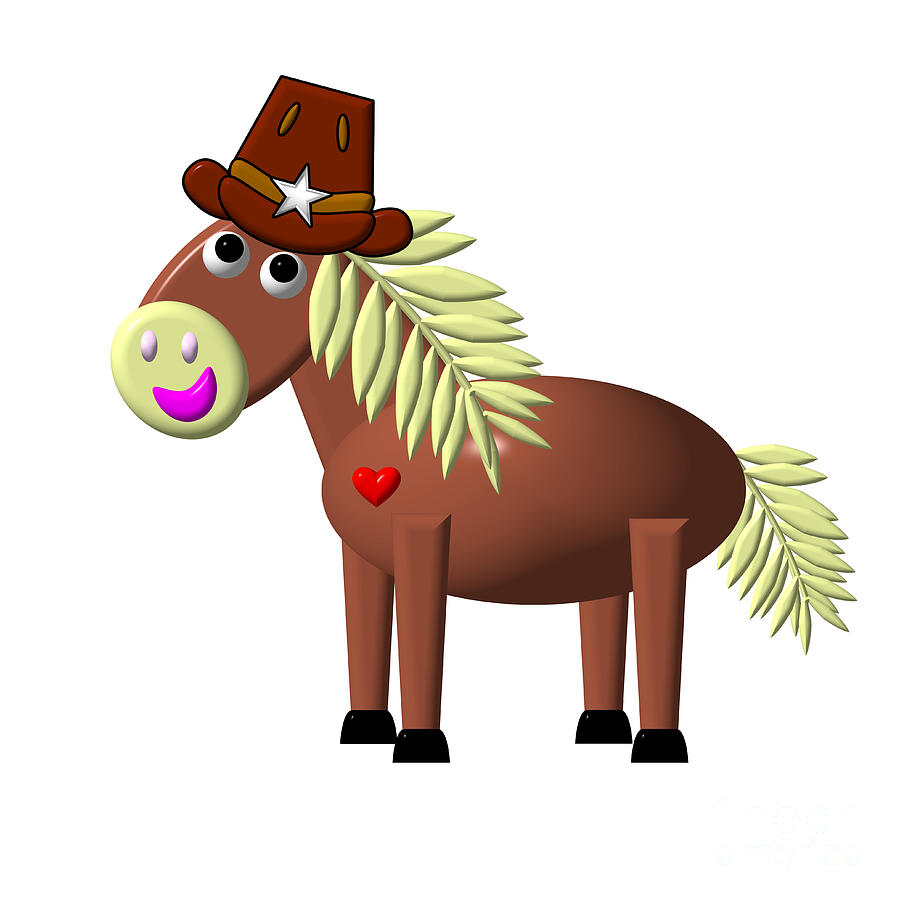 Cute Critters With Heart Horse In A Hat Digital Art