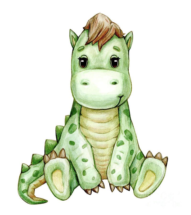 Cute Dinosaur Cartoon Painting By Viktoriia Kryzhanovska