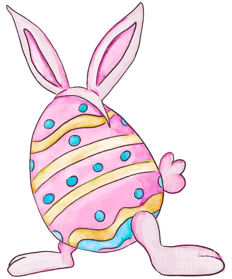 Easter Bunny Digital Art - Cute Easter Bunny Egg T Shirt by Flippin Sweet Gear