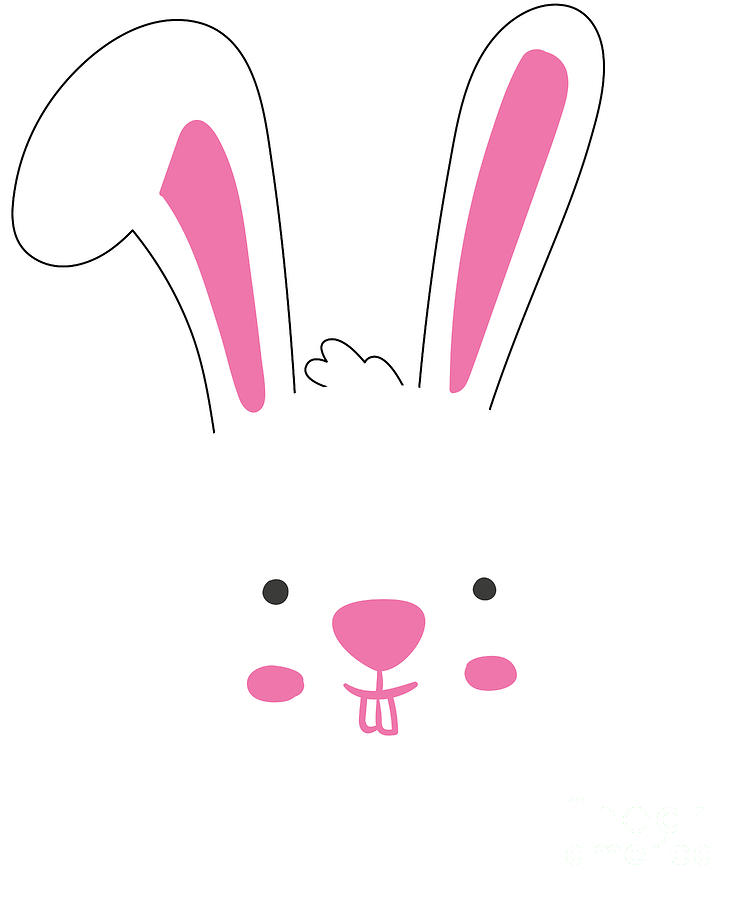 Easter Bunny Digital Art - Cute Easter Bunny Face T Shirt by Flippin Sweet Gear