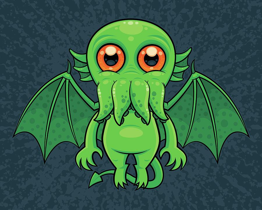 Cute Green Cthulhu Monster Digital Art