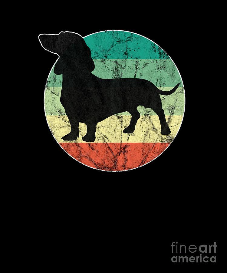 Dogs Digital Art - Cute Retro Dachshund Weiner Dog Mom Dog Dad by Thomas Larch