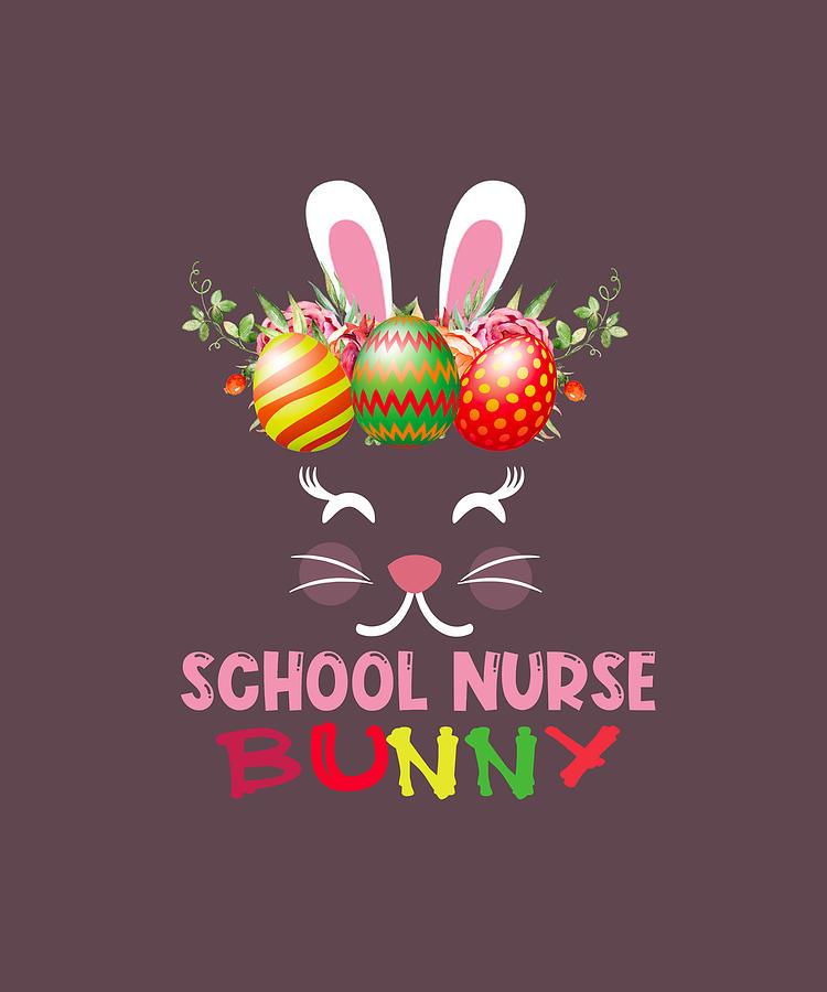 Cute School Nurse Bunny Face Egg Costume Easter Day Gift Tshirt