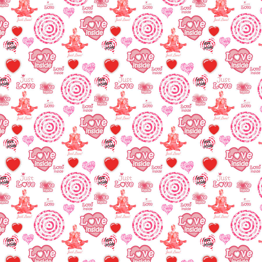 Cute Digital Art - Cute set of hearts and symbols for a Valentines day or wedding gift by Elena Sysoeva