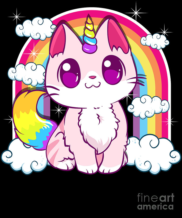 Cute Unicorn Cat Adorable Smiling Rainbow Kitty Digital Art By The Perfect Presents