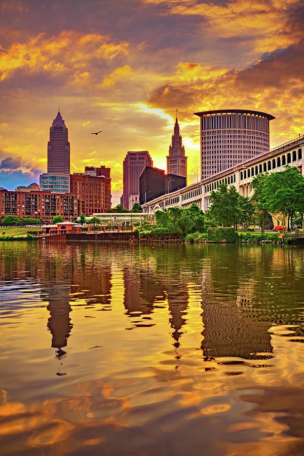 Cuyahoga River Skyline Sunrise - Cleveland Ohio Photograph