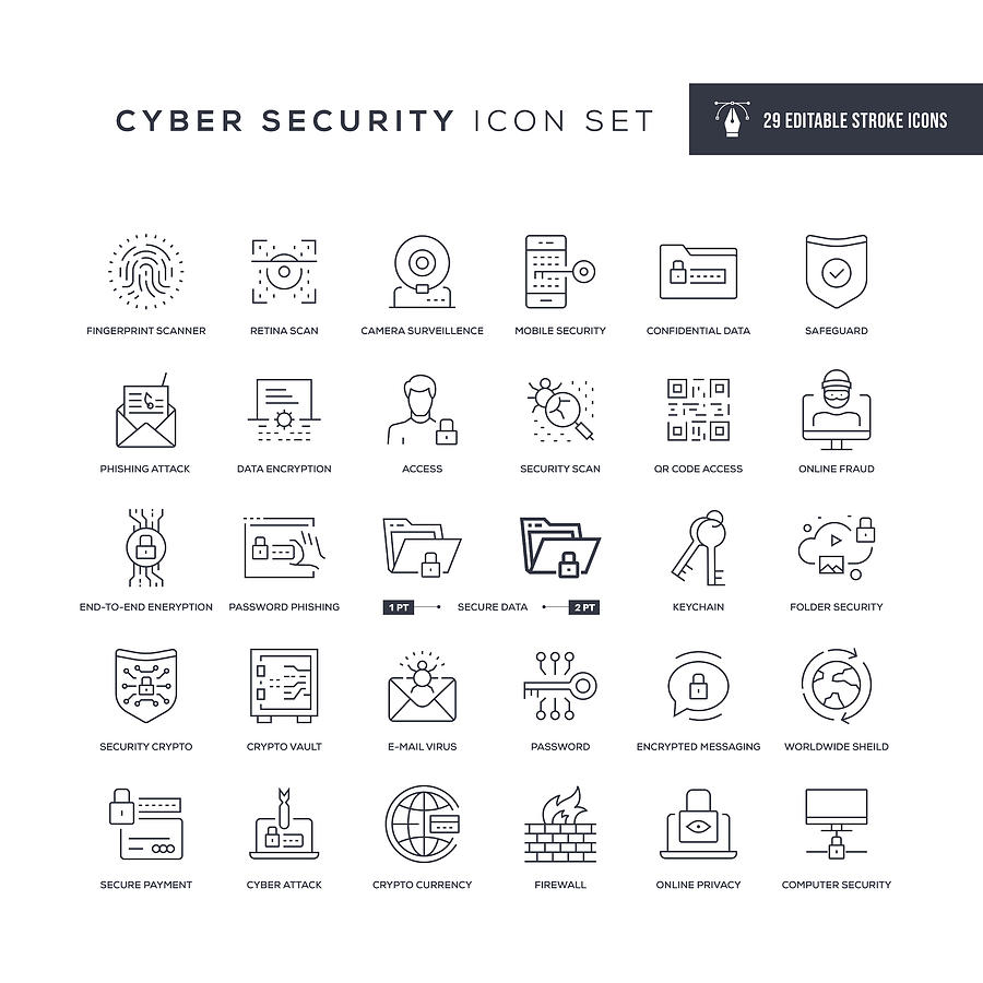 Cyber Security Editable Stroke Line Icons Drawing by Enis Aksoy