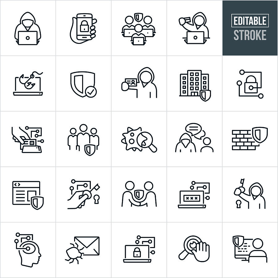 Cyber Security Thin Line Icons -Editable Stroke Drawing by Appleuzr