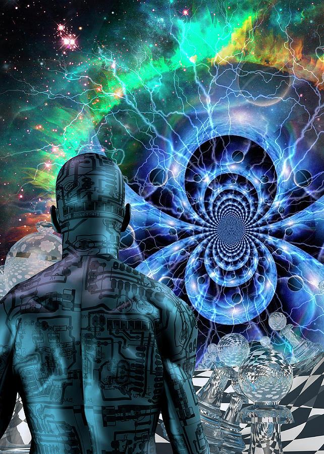 Cyborg In Surreal Space Digital Art