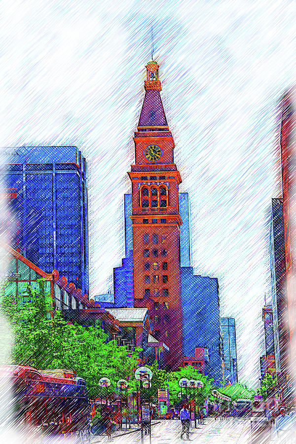 Architecture Digital Art - D F Tower On The Denver 16th Street Mall by Kirt Tisdale