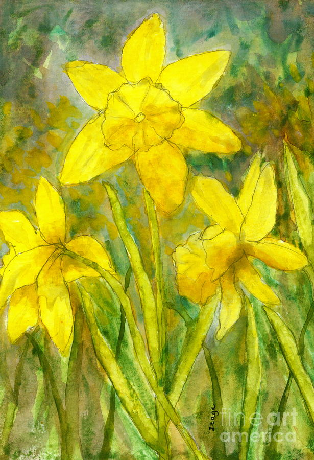 Daffodils Painting - Daffodil Flowers Watercolor Painting by Itaya Lightbourne