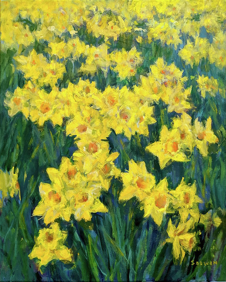 Floral Painting - Daffodils for Peggy by Peter Salwen