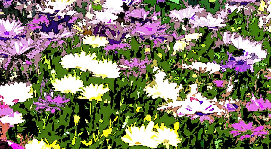 Abstract Flower Digital Art - Daisy Flower Garden Abstract by Linda Mears