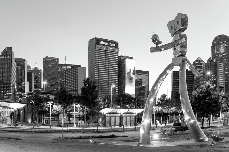 Dallas Traveling Man Monochrome 111419 by Rospotte Photography